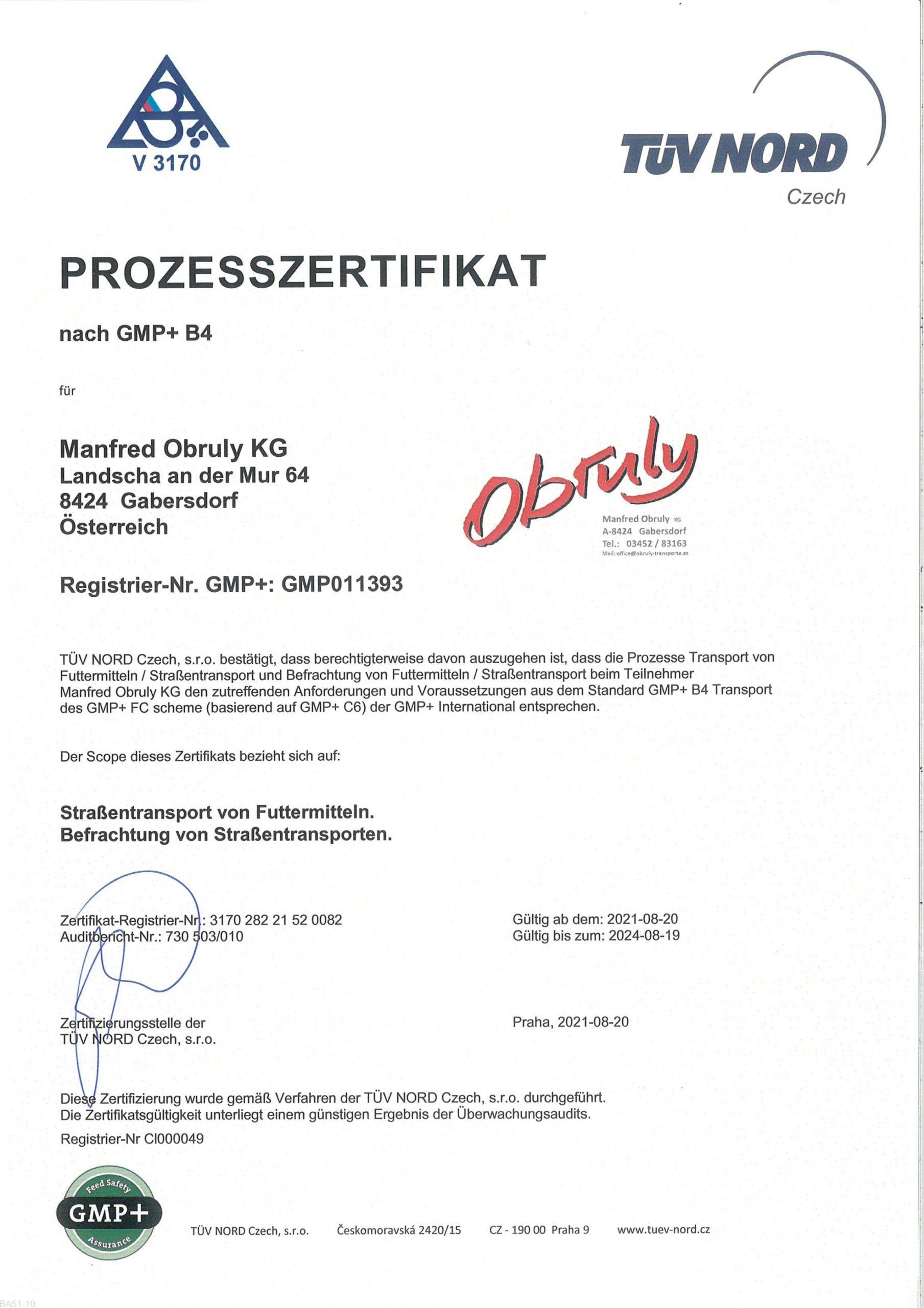 GMP Zertifikat 2021